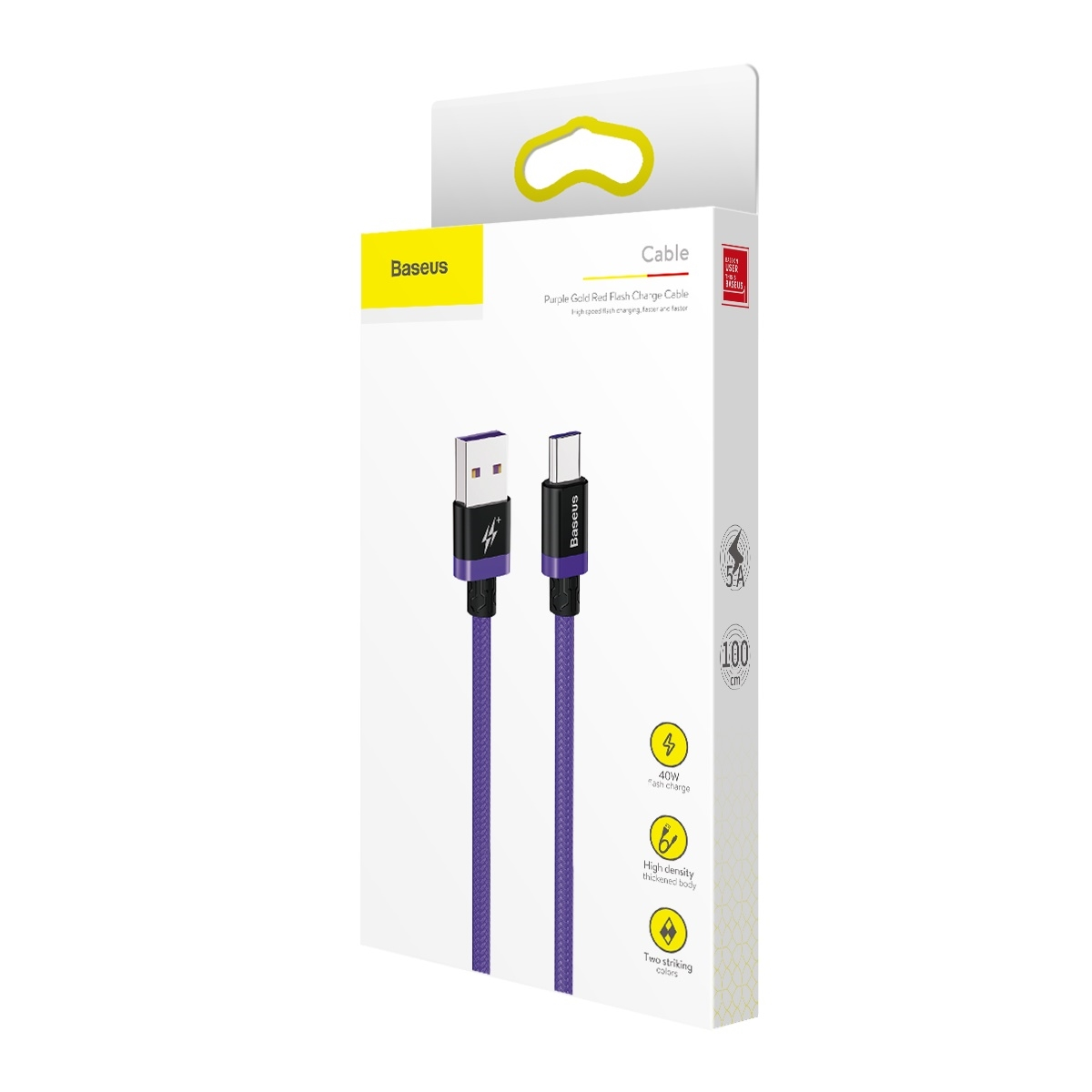 Baseus Purple Gold Red HW flash charge cable USB For Type-C 40W 1m Red CATZH-A09