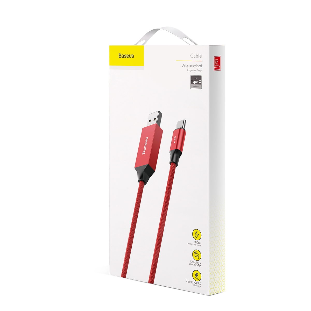 Baseus Artistic striped cable USB For Type-C 3A 5M Red CATYW-B09