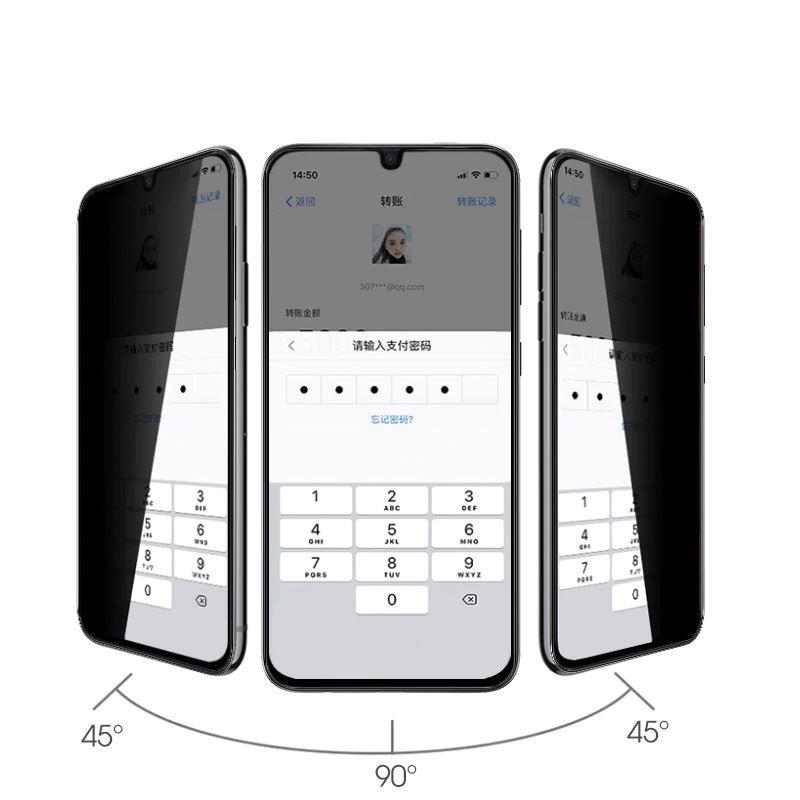 Huawei Psmart Pro 2019 Privacy 5D ( Hayalet ) Temperli Ekran Koruyucu