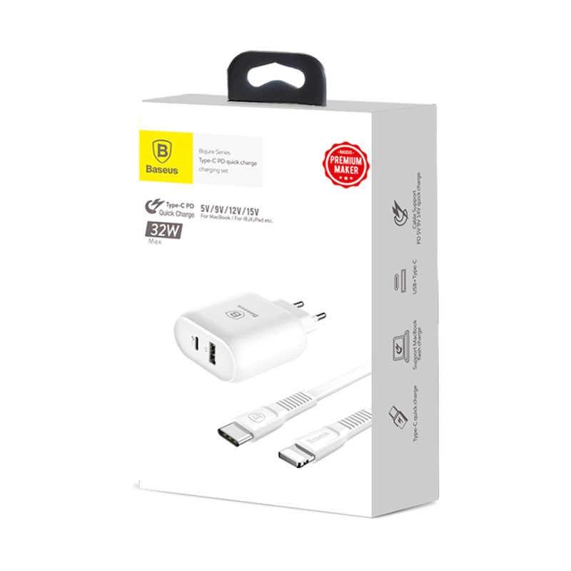Baseus Bojure Series Type-C PD+U Quick Charger EU 32W Set White TZTUN-BJ02