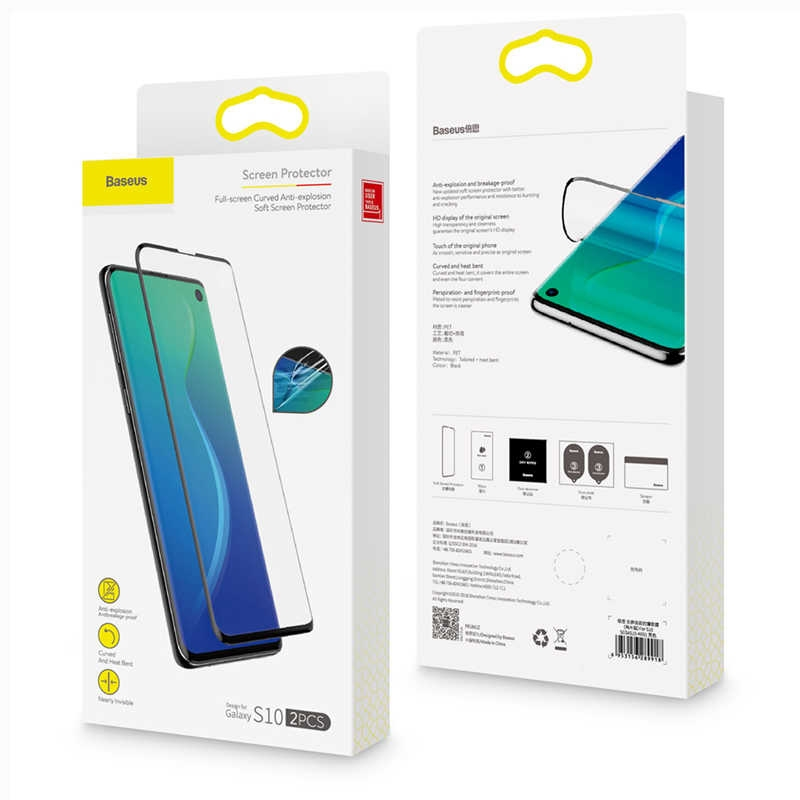 Baseus 0.15mm full-screen curved anti-explosion, soft screen For S10 Black SGSAS10-KR01