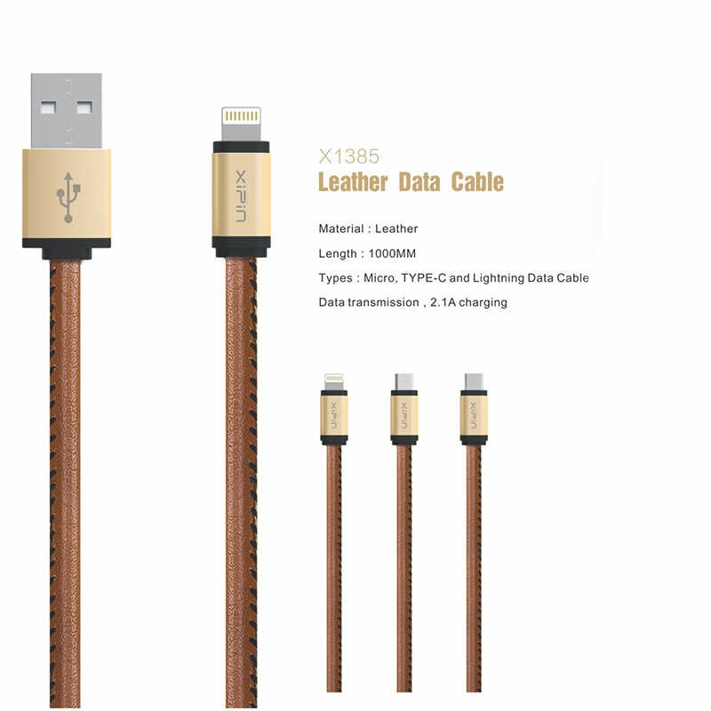 iPhone Xipin Leather Lightning Data Cable LX1385 1 METRE 3 Amper
