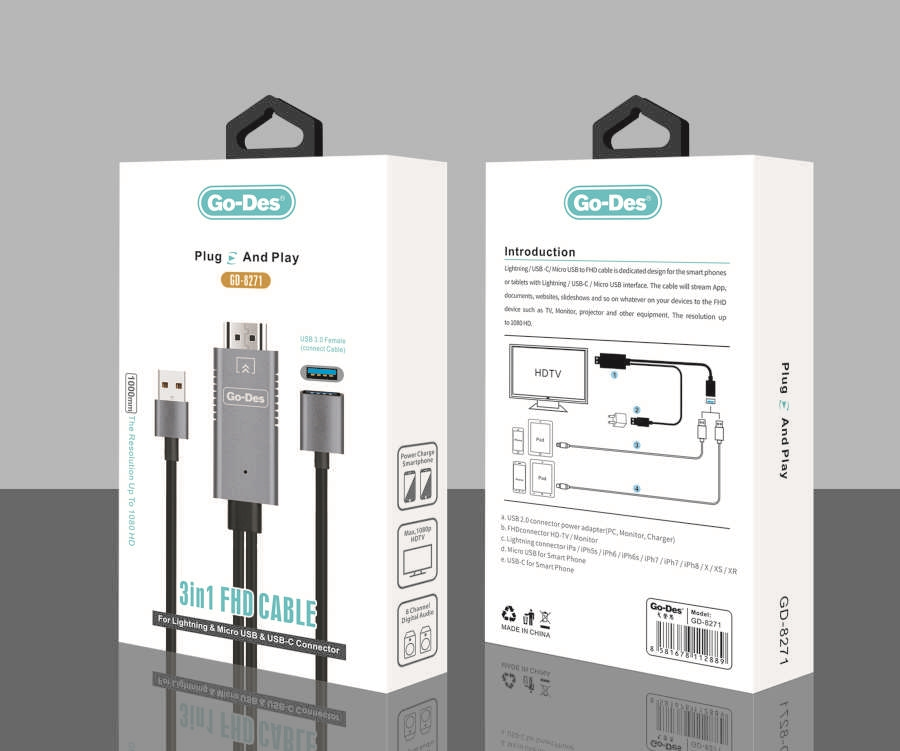 Go-Des GD-8271 Plug And Play ( 3 IN 1 ) FHD CABLE