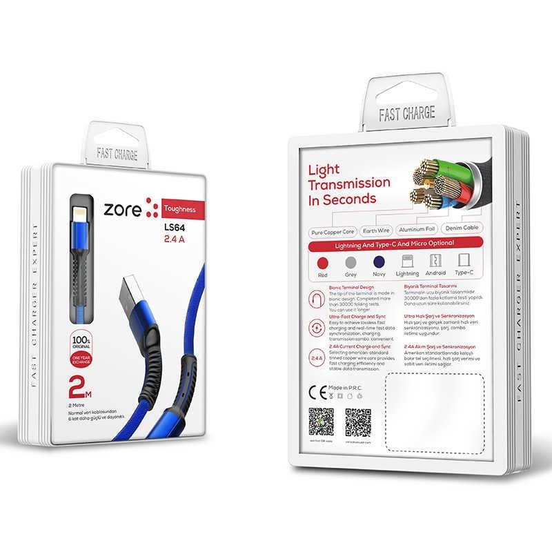 iPhone USB DATA KABLOSU LS64 2.4A 2 Metre