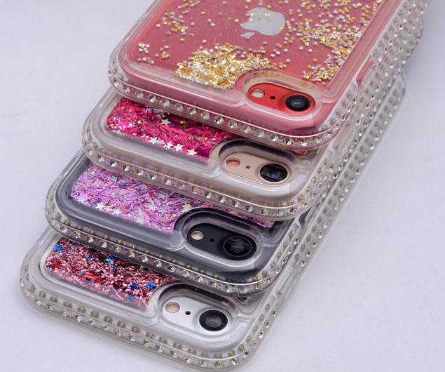 iPhone 7 PLUS SIRA TAŞLI SIVILI SİLİKON